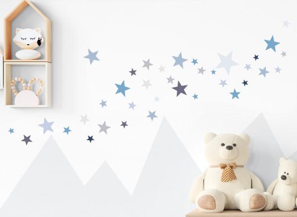 Little Deco Wandtattoo 60 Sterne blau grau DL396