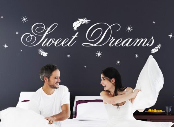 Wandtattoo Sweet Dreams Mit Sternen Federn W914 Spruche Zitate
