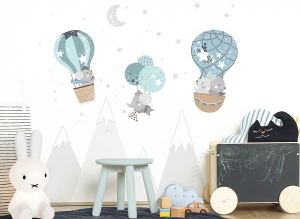 Little Deco Wandtattoo Tiere im Heißluftballon DL510