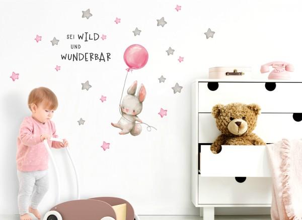 Little Deco Wandtattoo Sei wild & Hase mit Luftballon DL320