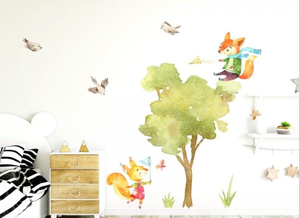 Little Deco Wandtattoo Eichhörnchen mit Baum & Vögel DL149