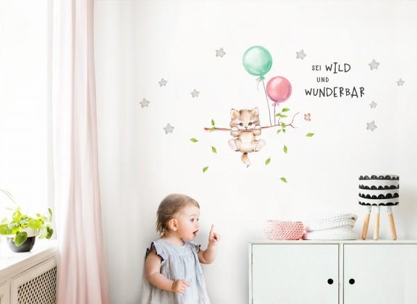 Little Deco Wandtattoo Sei wild & Katze mit Luftballons DL318