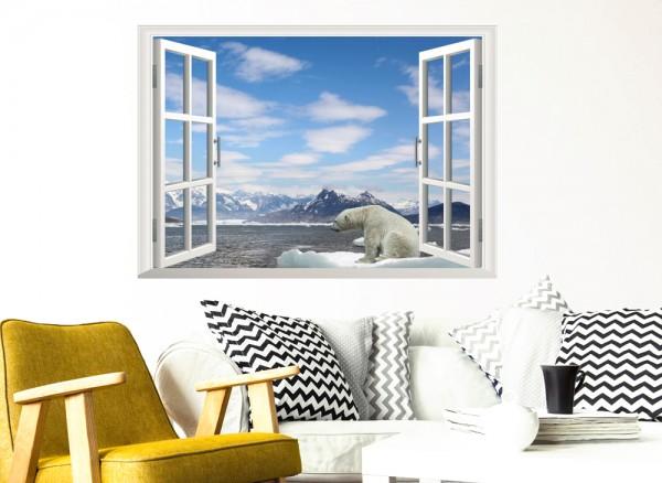 Wandtattoo offenes Fenster mit Eisbär W5357
