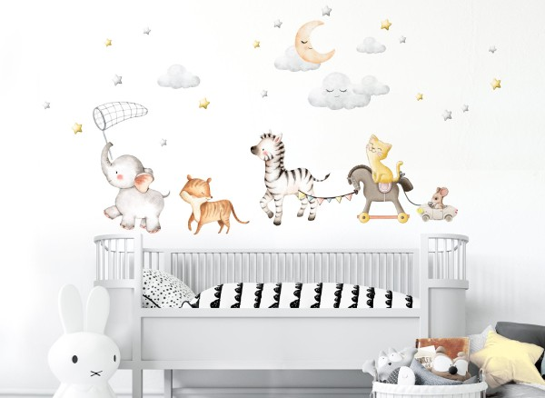 Little Deco Wandtattoo Elefant Tiger Zebra Katze Maus DL714