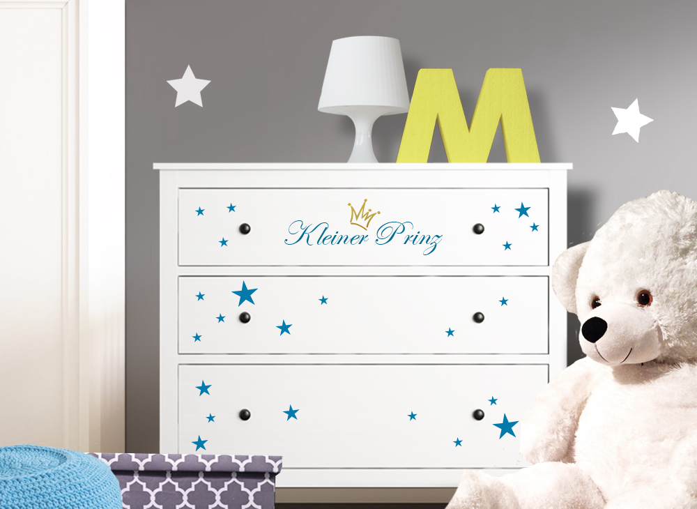 wandtattoo kleiner prinz mit sternen krone passend f r ikea hemnes kommode w5220. Black Bedroom Furniture Sets. Home Design Ideas