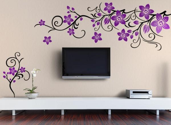 Wandtattoo Blumenranke 2-farbig mit Blüten W868