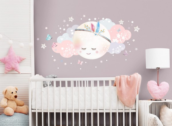 Little Deco Wandtattoo Wolken & Mond Weiß / Rosa DL268