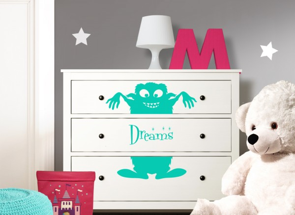 Wandtattoo Monster Dreams passend für IKEA HEMNES Kommode W5221