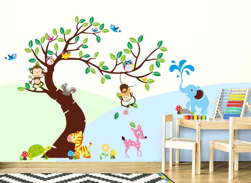 Wandtattoo Baum mit Zebra Reh Elefant Affen W5178   Bäume & Äste ...