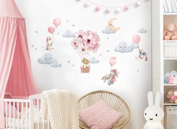Little Deco Wandtattoo Tiere mit Luftballons & Wolken DL696