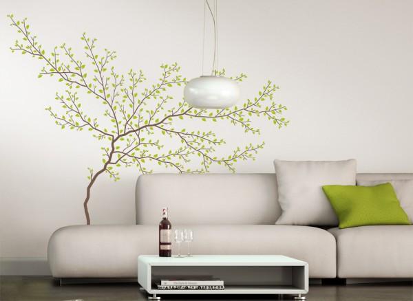 Wandtattoo 2-farbiger Baum mit Ästen und Blätter W1230
