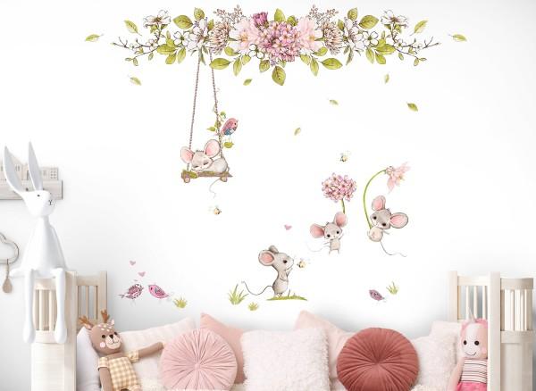 Little Deco Wandtattoo Mäuse Vögel und Blumen DL717