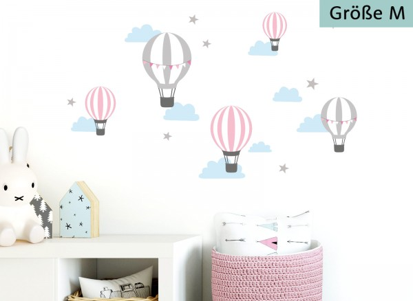 Little Deco Wandtattoo Heißluftballons Rosa Grau DL501