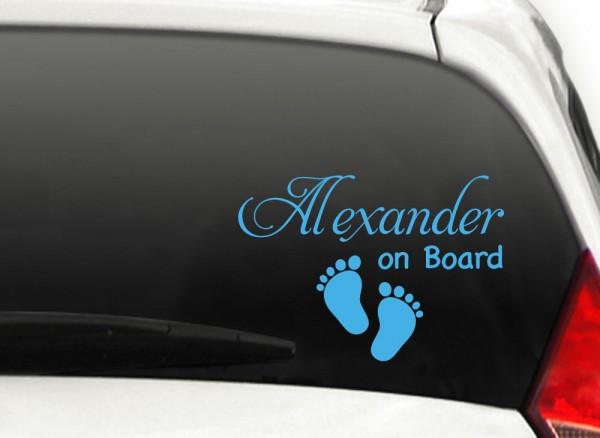 Autoaufkleber Baby on Board + Wunschname und Fußabdrücke X7102