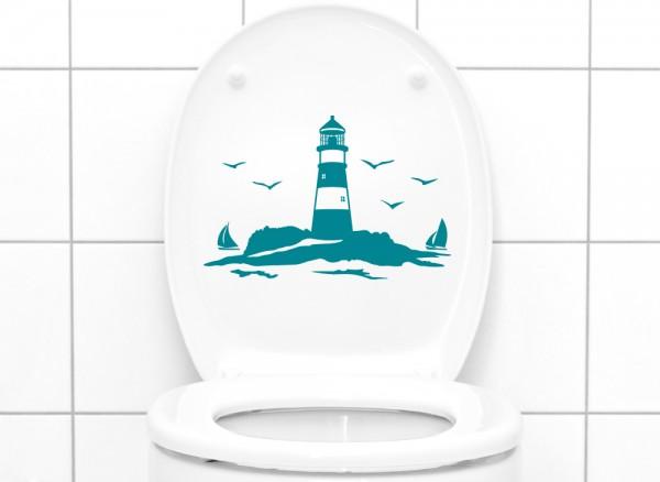 Wandtattoo WC Aufkleber Leuchtturm mit Segelschiffen W5330