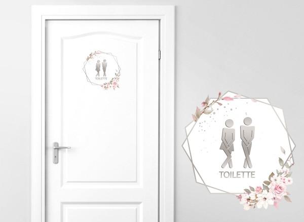 Grandora Türaufkleber Toilette mit Blumenranke DL732