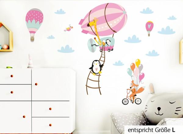 Little Deco Wandtattoo Tiere im Zeppelin Fuchs auf Fahrrad Rosa Pink DL222