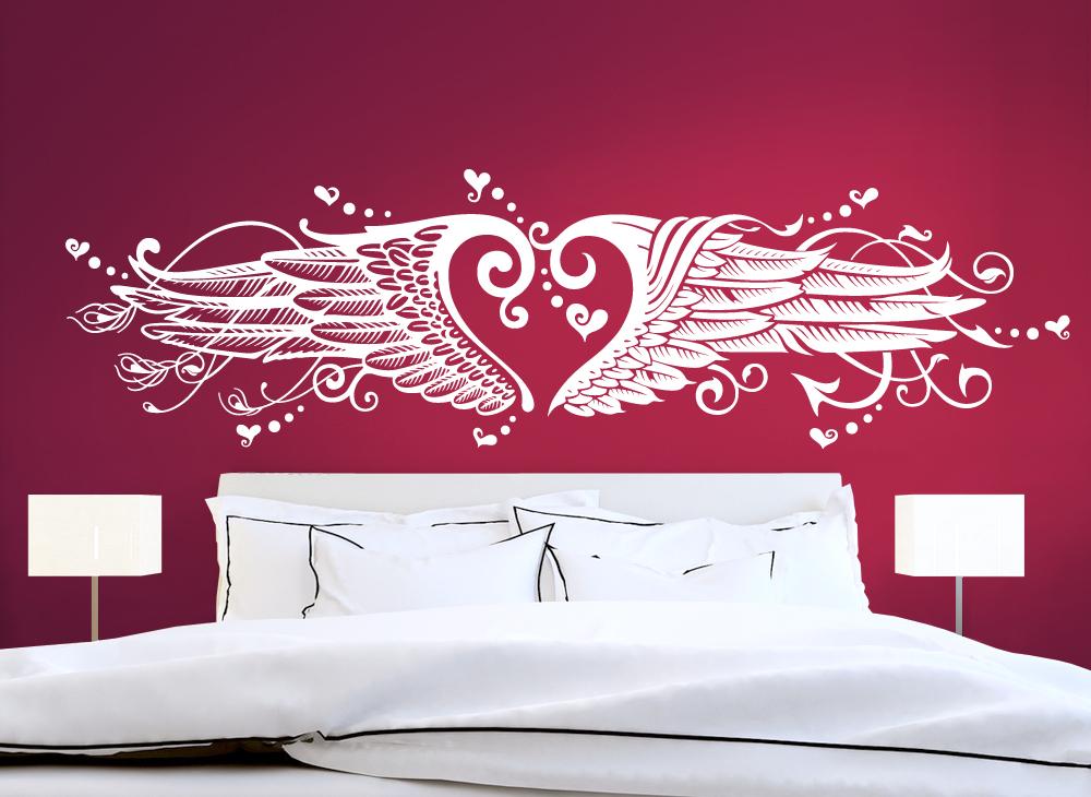 wandtattoo herz engelsfl gel mit harter und zarter seite. Black Bedroom Furniture Sets. Home Design Ideas