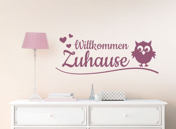 wandtattoo spruch willkommen zuhause herzen eule w1253. Black Bedroom Furniture Sets. Home Design Ideas