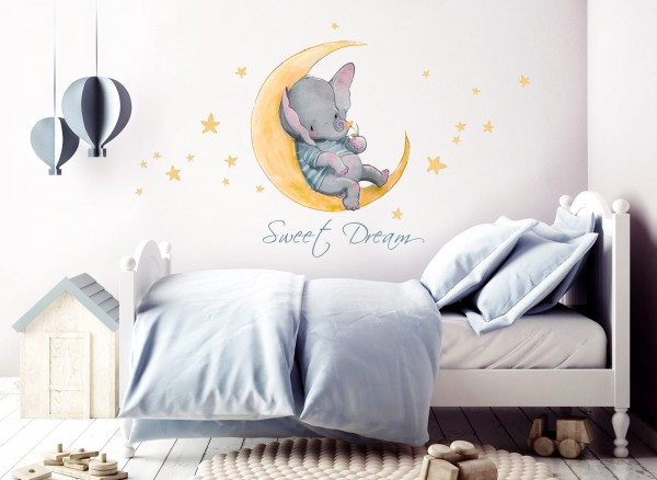Wandtattoo Sweet Dream Elefant & Mond DL146