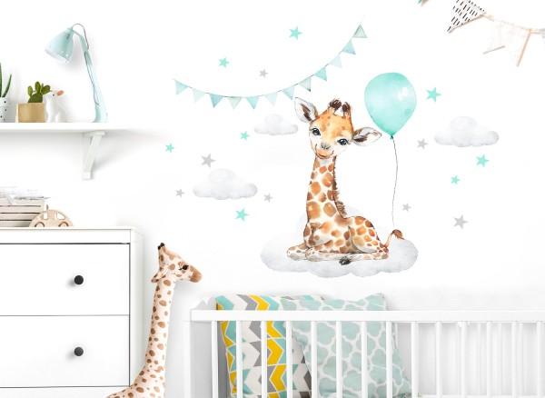 Little Deco Wandtattoo Giraffe mit Luftballon mint & Sterne DL680