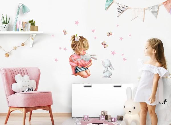 Little Deco Wandtattoo Mädchen mit Hasen & Sterne DL687