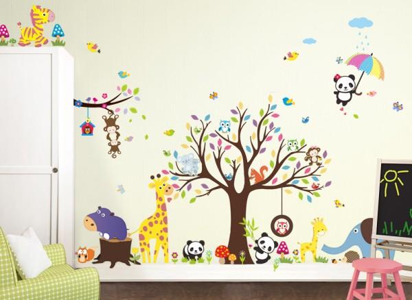 Wandtattoo XXL Premium-Set Baum Elefant Giraffe W5364