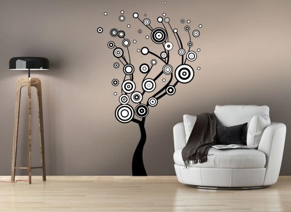 Wandtattoo Retro-Baum 2-farbig W5402