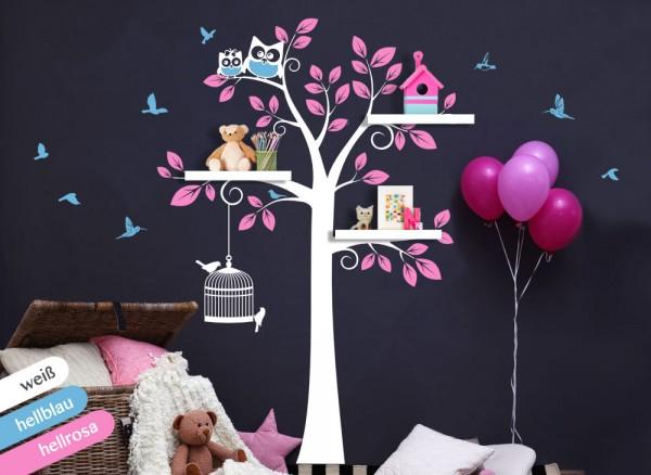 Wandtattoo 3-farbiger Baum mit Vögeln & Eulen weiß / hellblau / hellrosa W1335
