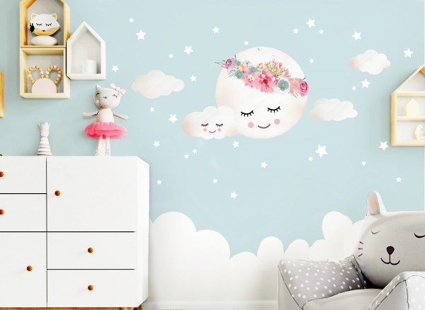 Little Deco Wandtattoo Wolken Mond Sterne Dl264 Madchen