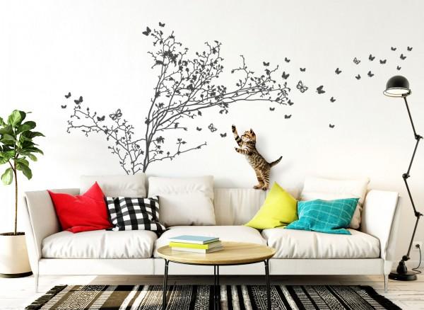 Wandtattoo Baum + Schmetterlinge W1250