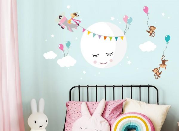 Little Deco Wandtattoo Mond mit Wolken Affen Flugzeug grau rosa DL431