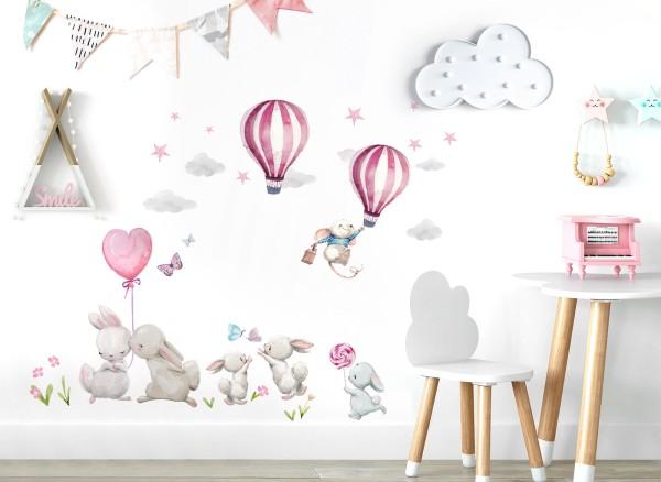 Little Deco Wandtattoo Hasen mit Heißluftballons & Sterne DL676