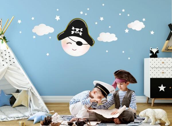 Little Deco Wandtattoo Mond mit Piratenhut und Wolken Weiß DL271