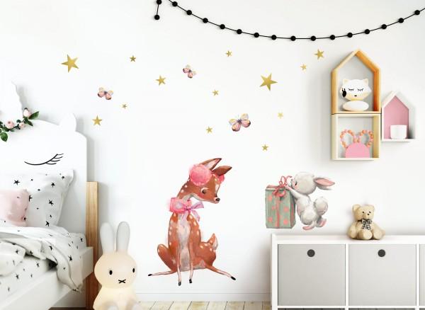 Little Deco Wandtattoo Reh & Hase mit Geschenk DL233