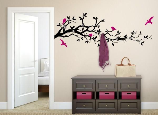 Wandtattoo Garderobe 2-farbig Ast mit Vögeln + 6 Edelstahlhaken W5127