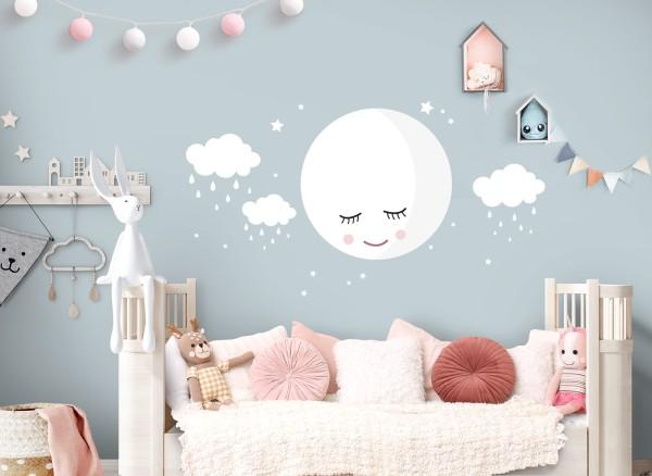 Little Deco Wandtattoo Mond Regen Wolken DL712