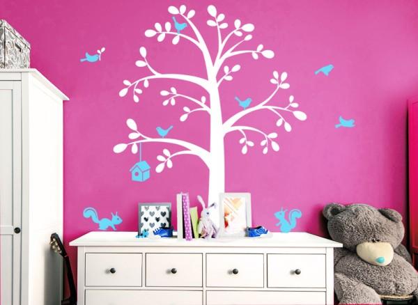Wandtattoo 2-farbiger Baum mit Vögeln, Käfig + Eichhörnchen W5159