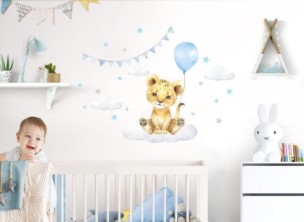 Little Deco Wandtattoo Löwe mit Luftballon blau & Sterne DL686