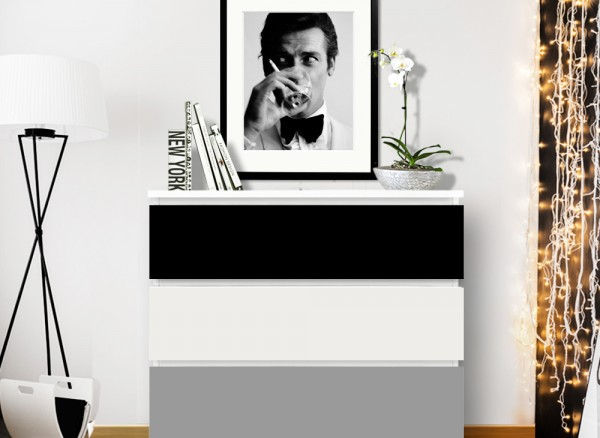 Möbelfolie 2-farbig schwarz, mittelgrau W5338