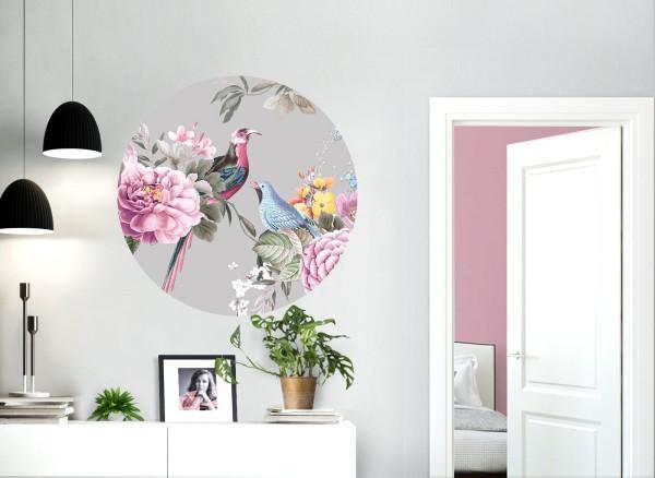 Wandaro runder Wandaufkleber mittelgrau mit Vögel & Blumen DL573