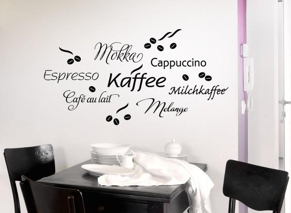 Wandtattoo Kaffee Cappuccino Espresso Milchkaffee 1075W