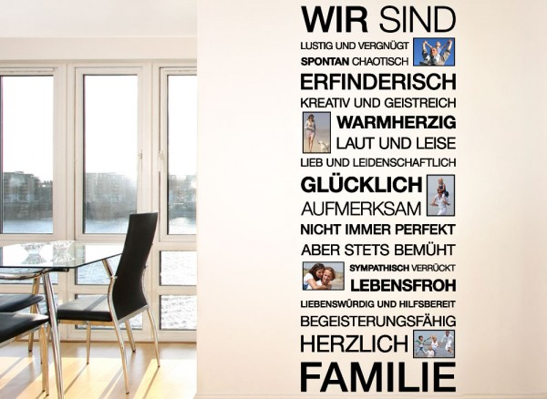 wandtattoo spruch wir sind familie bilderrahmen e026. Black Bedroom Furniture Sets. Home Design Ideas