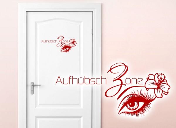 Wandtattoo Türaufkleber Aufhübsch Zone + Auge & Hibiskusblume W5447