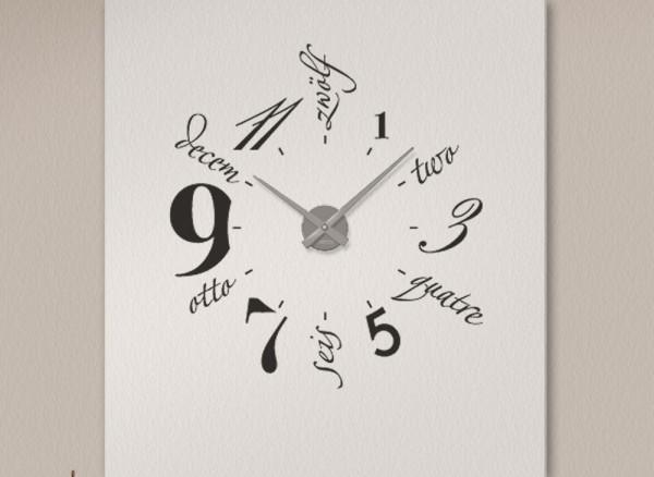 Wandtattoo Uhr mehrsprachig W686