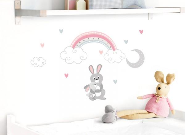 Little Deco Wandtattoo Hasen mit Mond & Regenbogen DL495