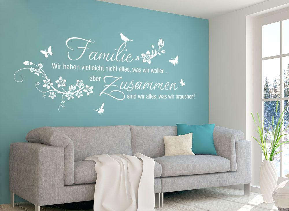 wandtattoo familie wir haben vielleicht nicht alles w5453 spr che zitate wohnzimmer. Black Bedroom Furniture Sets. Home Design Ideas