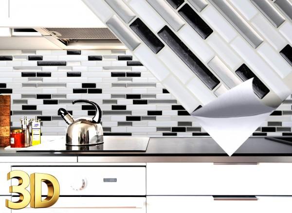 4x 3D Fliesenaufkleber 27 x 25,4 cm schwarz metallic weiß silber Ziegel W5532