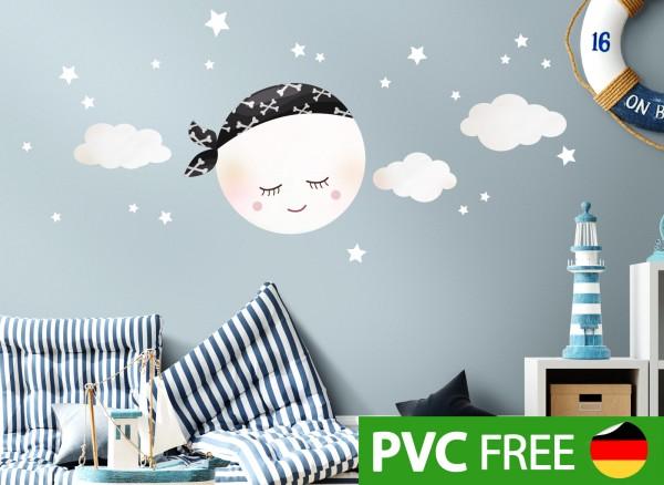 Little Deco Öko Wandtattoo Mond mit Piraten Kopftuch und Wolken Weiß DL289