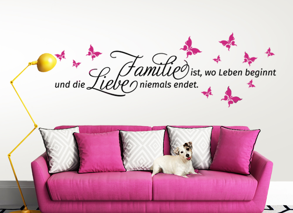 wandtattoo spruch familie wo das leben beginnt und 2. Black Bedroom Furniture Sets. Home Design Ideas